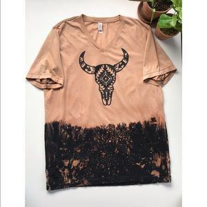 Boho Distressed Bleached Skull Graphic Tee Large